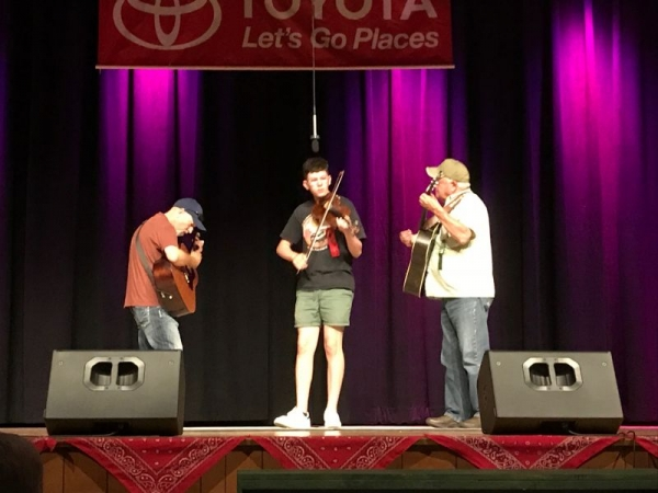 Competing at the National Oldtime Fiddlers' Contest in Weiser, Idaho.