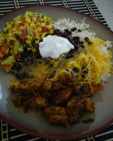 Chipotle Chicken with Rice and beans and Avocado salad
