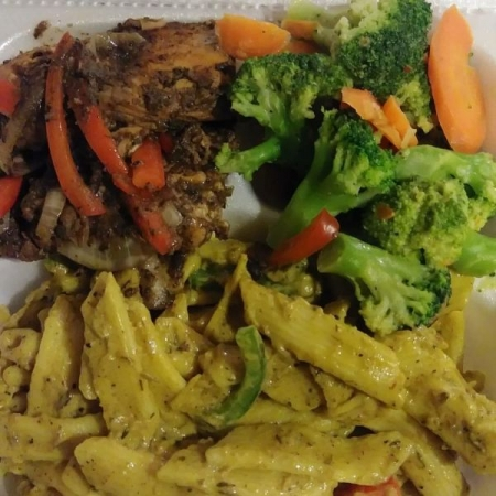 Jerk Salmon with Rasta Pasta