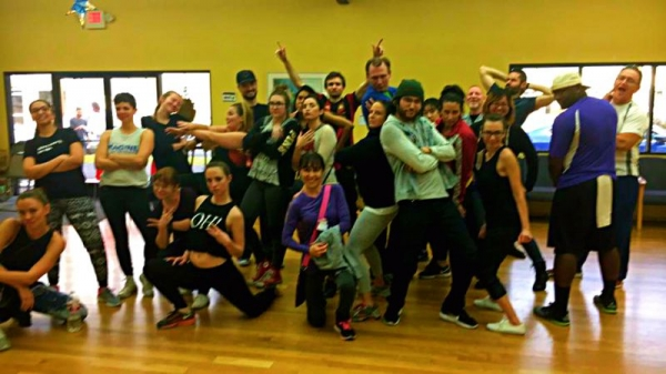 "Free Day of Dance was bombbbb! I taught Bruno Mars' ""Finesse"". I'm in the beanie with the blue/white jacket."