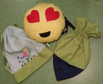 Samples for beginning sewing classes with children.
