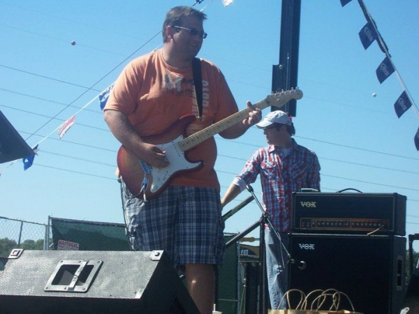 Another shot from an outdoor gig.  I've diversified now, but I was primarily a Strat player for many years.