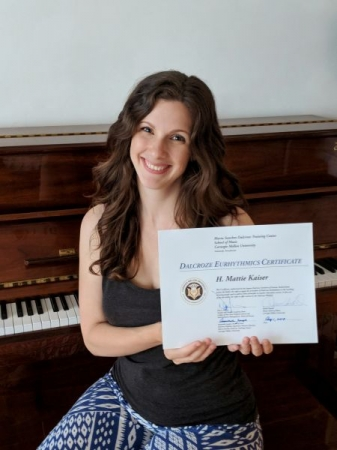 Proud recipient of a Dalcroze Eurhythmics Certificate from Carnegie Mellon University.