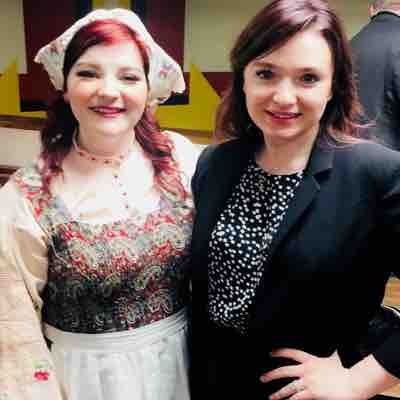 "Me with student Paige Lovell after her performance of Baker's Wife in ""Into the Woods"""