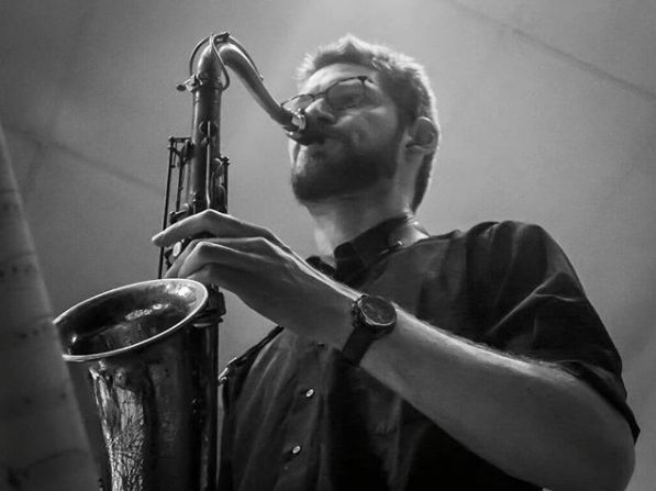 Me playing at a recent show with a great jazz band!