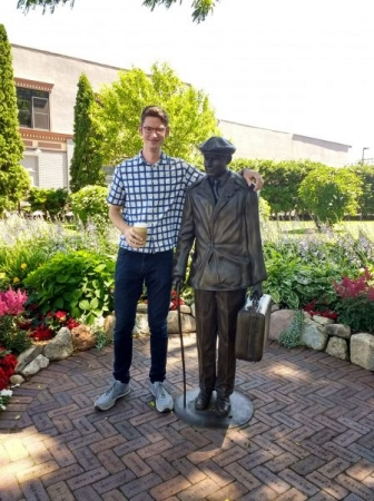 Me and my buddy Ernest Hemingway just hangin' out, thinking about writing books and teaching saxophone lessons!