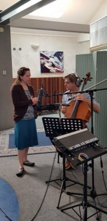 Student Sharon Fendrich, recording an album of her original music in the Netherlands, 2018.