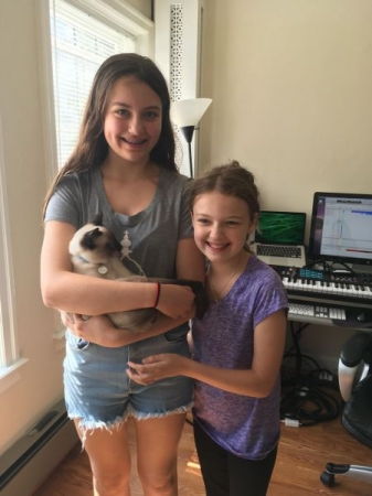Songwriting student JoElla with my kitten, Otto, at my home studio.