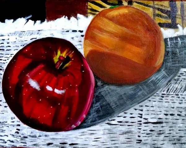 Apple and Orange Still Life Acrylic Painting.
