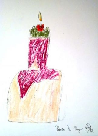 Candle on top of a vase still life using oil pastels.