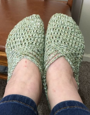 Suday Ballet Slippers. (Crochet)  Sorry, no pretty models for this one.