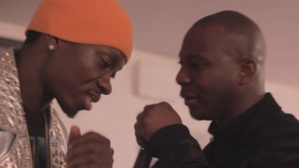 """Cheick """"H.U.L"""" Sacko and famous comedian and actor at a music video shoot in New York City."""