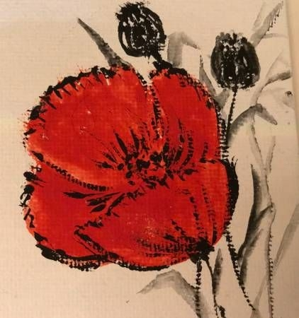 Poppy flowers, acrylic on canvas.