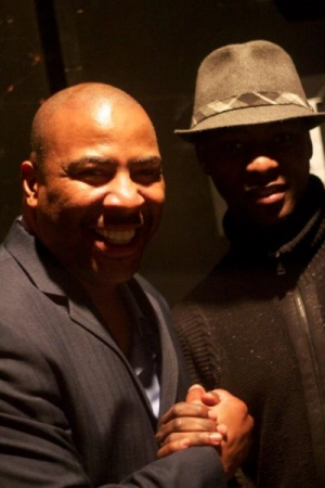 """Cheick """"H.U.L"""" Sacko with Famous comedian and actor Capone."""