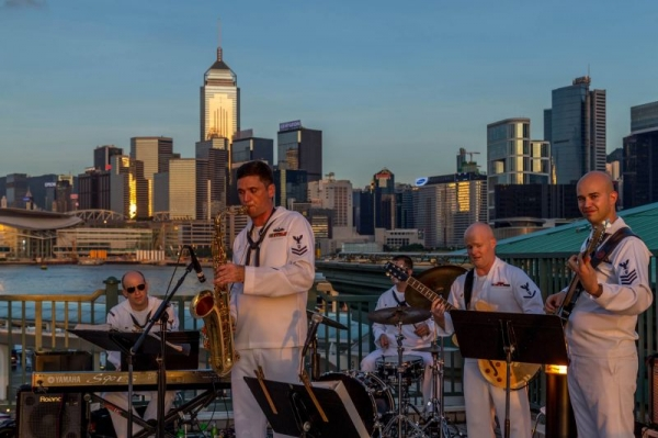 Performing with the U.S. 7th Fleet Band Jazz Combo in Hong Kong, 2014.