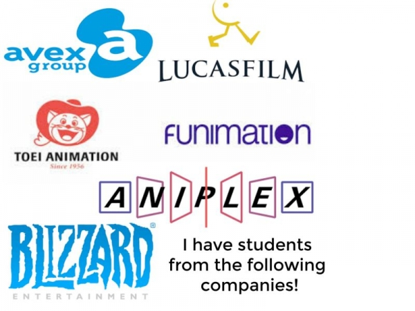 I have taught either Voice, English, and Japanese at these following companies! Book Now!