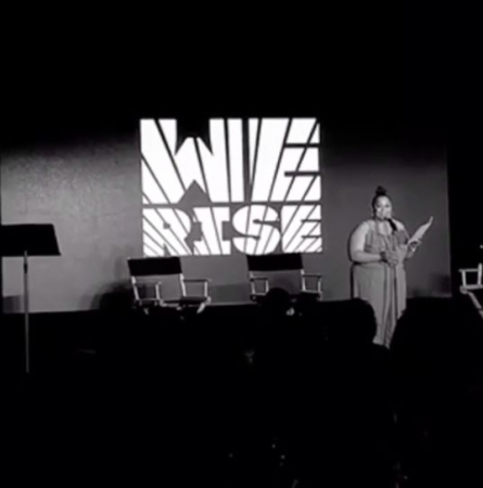 On stage at We Rise.