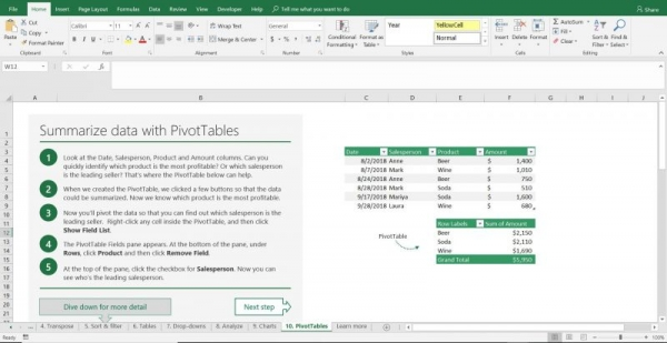 Pivot Table tutorial