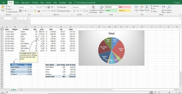 Pivot table and Vlookup example