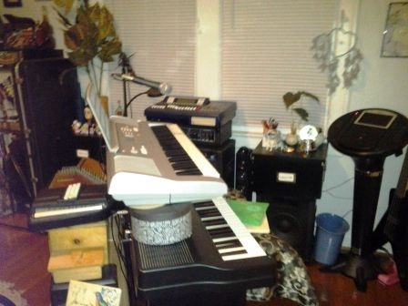 #1 - Welcome to my Music Studio!  Pictured are: full digital piano, keyboard synthesizer, 16-track recorder, autoharp, and a dulcimer!