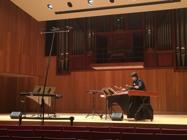 "Performing ""Fertility Rites"" for marimba and electronics ca. 2017"