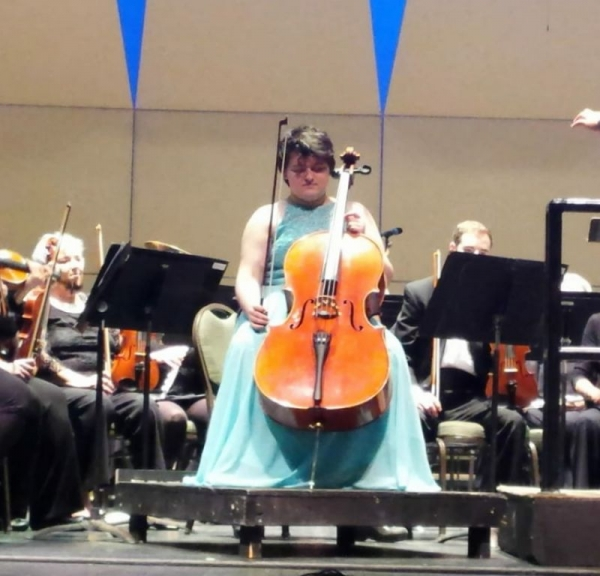 This is me performing the Elgar Cello Concerto a little over a year ago in Fall River, Massachusetts