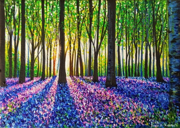A Morning Walk Through Bluebells, Acrylic on Canvas, Jessica Hamilton 2018