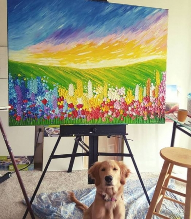 Field of Flowers, Oil on Canvas, Jessica Hamilton, 2018. With my dog Sophie.