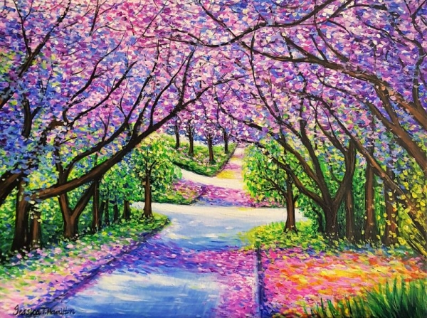 Path of Jacaranda Trees, Acrylic On Canvas, Jessica Hamilton, 2018