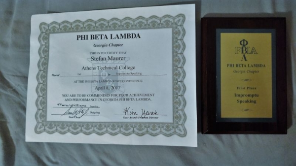 Phi Beta Lamda Award - 1st place in Impromptu Speaking at State level