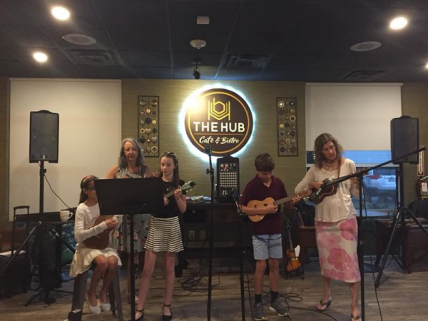 Some of my uke students and I performing at the HUB in the Woodlands this year.
