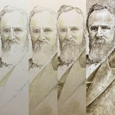 Work in progress. Portrait of Rutherford B Hayes