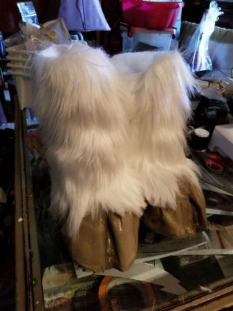 Faun hooves made from faux fur, worbla, clay polymer, EVA foam. Part of a full faun cosplay suit.