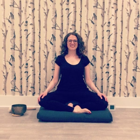 Leading meditation classes at Qwell Meditation and Wellness Studio in Montclair, New Jersey