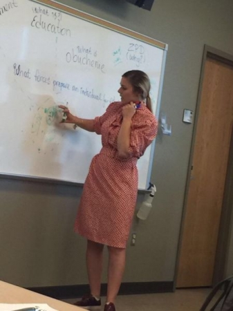 Me defending my MA thesis at UNM on education and mentoring. (Summer 2017)