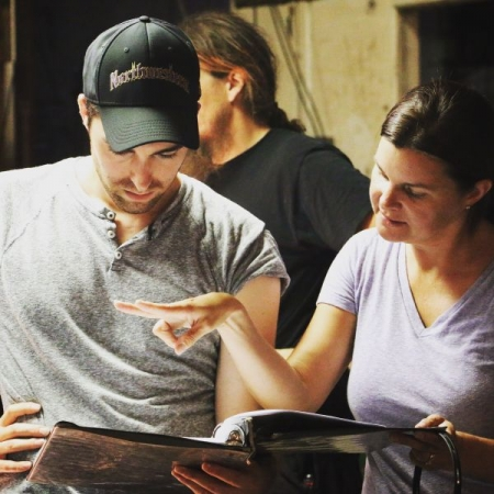 """Zach on set of production for his award-winning screenplay """"Serenity"""" (directed by Emmy winner Heather Tom)."""