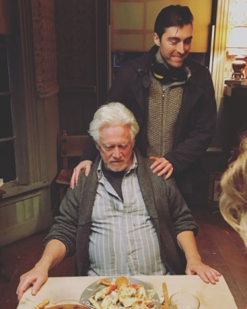 "Zach directing Oscar nominee and Golden Globe winner Bruce Davison on set of ""The Lightkeeper."""