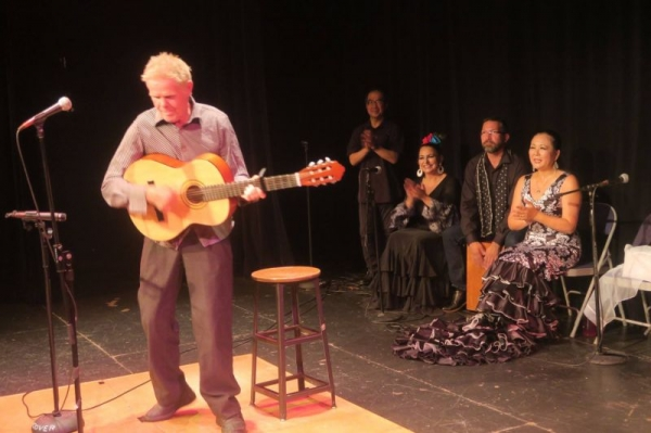 Playing percussion for a flamenco show