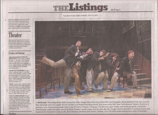 Zach and fellow cast of 2010 Off Broadway's WITH GLEE, on the front page of the New York Times Arts Section.