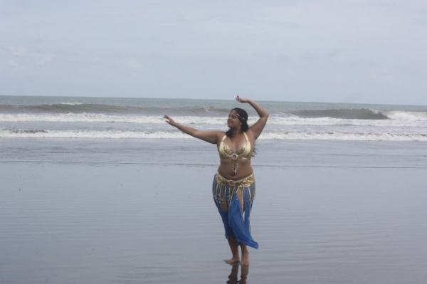 Belly dancing on the beach!