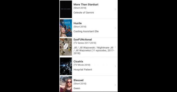 This is a screenshot of the most recent works listed on my IMDb under Dakota Wollmer.