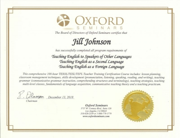 Oxford Seminars 100-hour TESOL/TEFL/TESL Certification Grade A