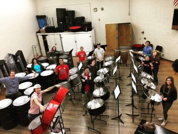 On the bottom left (by the red drums) is me playing with the UA steel band!