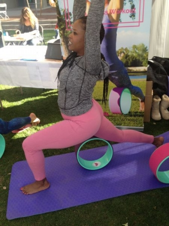 Here I am trying out the Yoga Shakti wheel at the Vegan food Festival.
