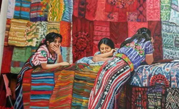 "16"" x24"" oils, Guatemala Girls selling fabric,  photo by Linda Ruth Paskell from her travels."