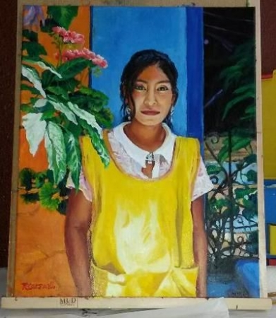 "16""x20"" Oils, Hotel Maid, Guatemala, photo by Linda Ruth Paskell"