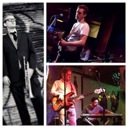 Trumpet, Guitar and Bass action/promo shots.