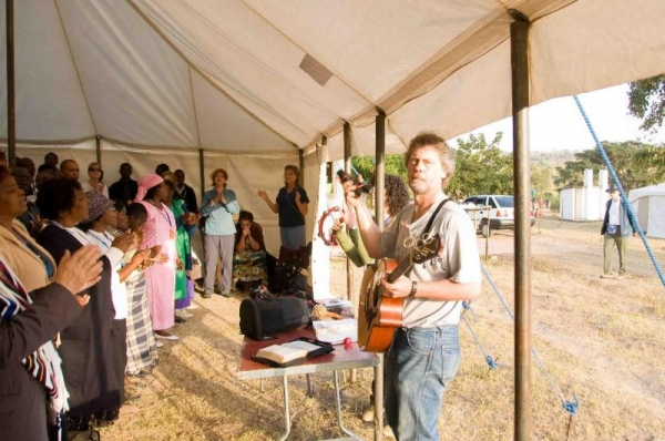 Leading worship in Zimbabwe for our ministry team of about 150-200 people.