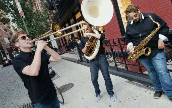 Mid Performance with my brass band for Krewe Sunglasses in Soho NYC!