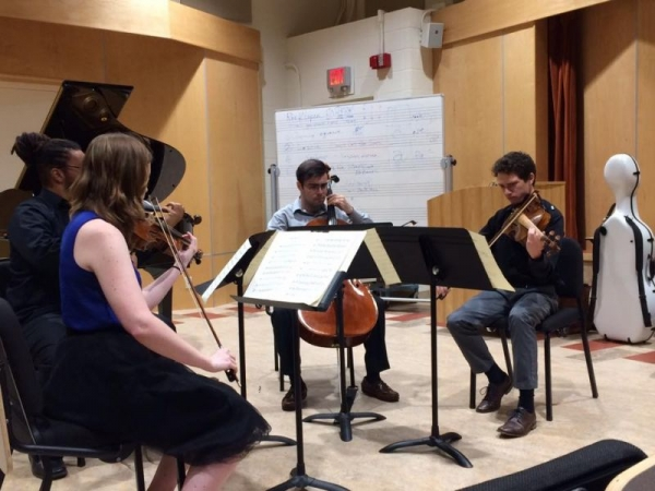 Performance of Brahms' String Quartet in C Minor, during a masterclass for Chiara String Quartet